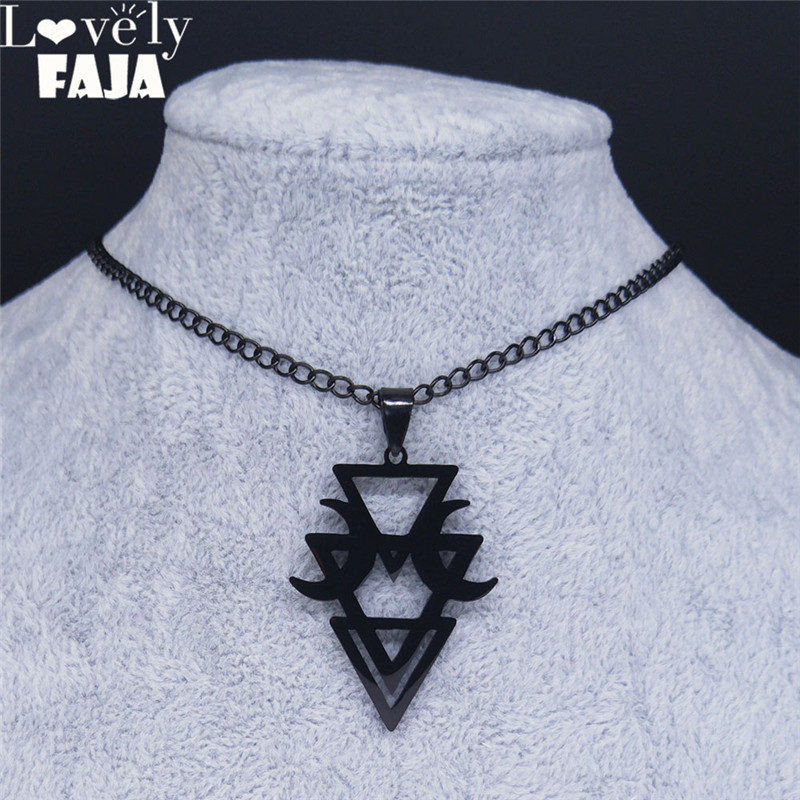 Lovely FAJA Gothic Geometric Stainless Steel Moon Neckless Women Black Witchcraft Necklaces Jewelry kolye bayan N4141S03(China)