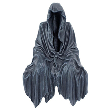 Gothic Nightcrawler Statue Sitting Thriller in Black Robe Decorative Dark Cloak Mysterious Master Ornament for Home