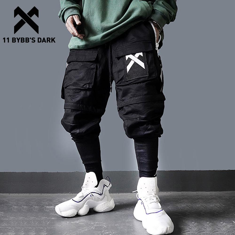 11 BYBBS foncé détachable multi-poches Cargo pantalon hommes Harajuku Hip Hop Streetwear Joggers homme taille élastique pantalons de survêtement Techwear