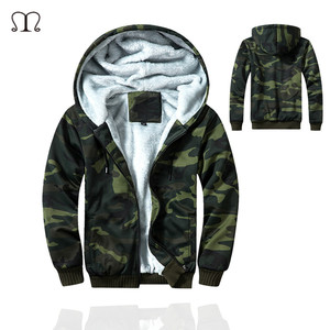 Eua tamanho militar dos homens super quente hoodies moletom inverno engrossar velo zíper com capuz camuflagem hip hop camo moletom masculino