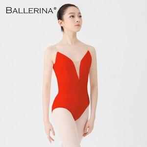 Image 4 - Justaucorps de ballet femmes aerialiste pratique danse Costume V profond fronde noir gymnastique justaucorps Adulto ballerine 5039
