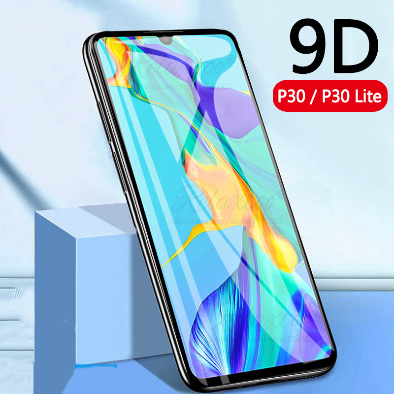 9D Full Gule Tempered Glass For Huawei P30 Lite Light Screen Protector On Huawey Huavei P 30 Lite P30lite Protective Film Glass