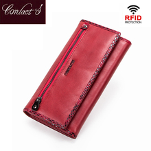 Contact's Long Women Wallets Genuine Leather Large Capacity Ladies Card Phone Wallets Coin Purses Carteira RFID Clutch Wallets tzecho womens wallets prints animal cartoon unicorn ladies clutch zipper coins purses long rfid credit card for teen girls