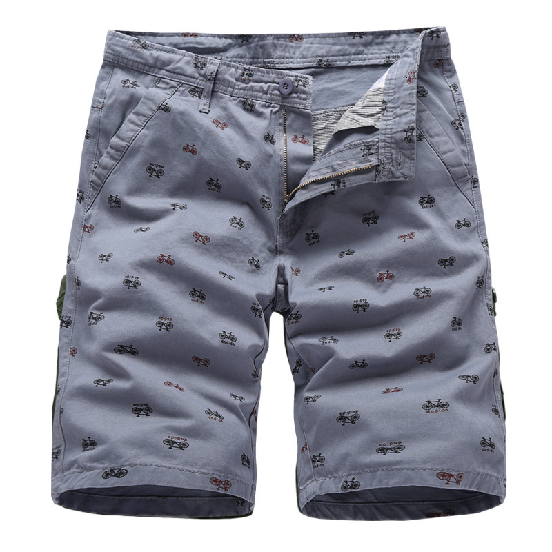 2019 Zomer Mode Nieuwe Mannen Casual Fiets Print Shorts/heren Straight Katoen Overalls Shorts