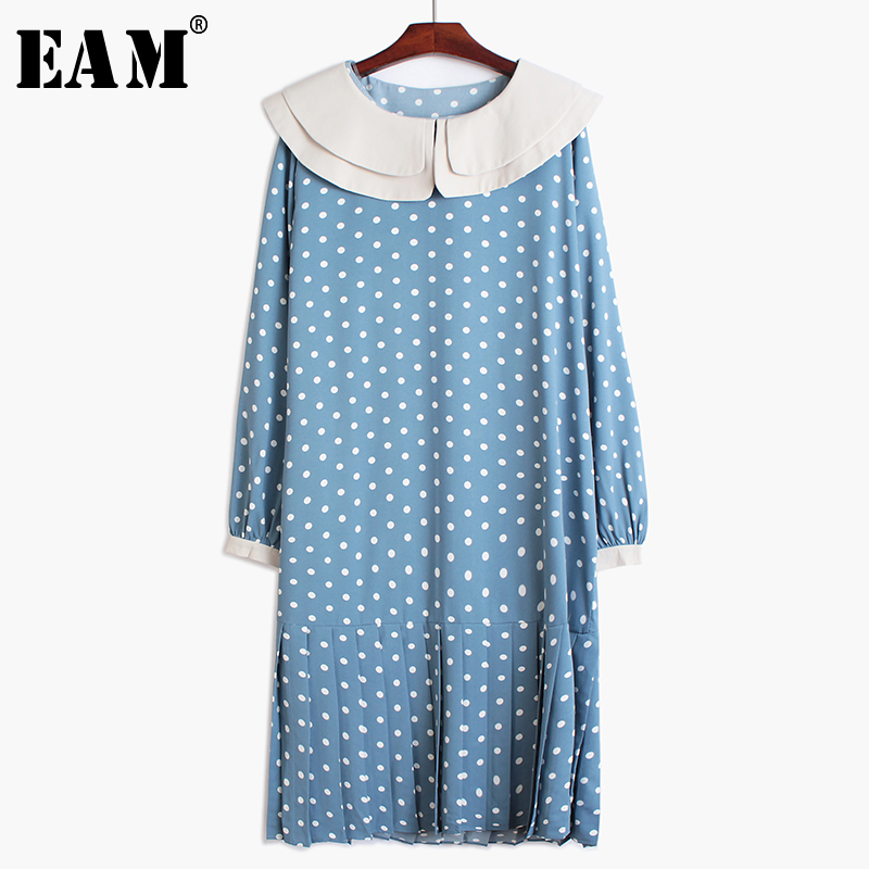 [EAM] Women Dot Print Split Temperament Dress New Double-layer CollarLong Sleeve Loose Fit Fashion Tide Spring Autumn 2020 1R208