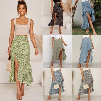 цена на Asymmetric Skirt Bohemia Ruffle Sexy Women's Long Skirt New Popular Fashion Miniskirt Women's High Waist Floral 2020 Summer