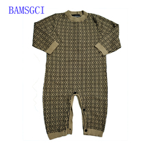 winter fashion Letter style newborn baby clothes warm knit sweater Long sleeve cotton toddler Baby boy girls Romper and hat set