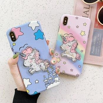 Funda de teléfono Linda Liquid Star Glitter unicornio para iphone X XR XS Max funda para iphone 6 6s 7 8 plus moda blanda suave cubierta Capa