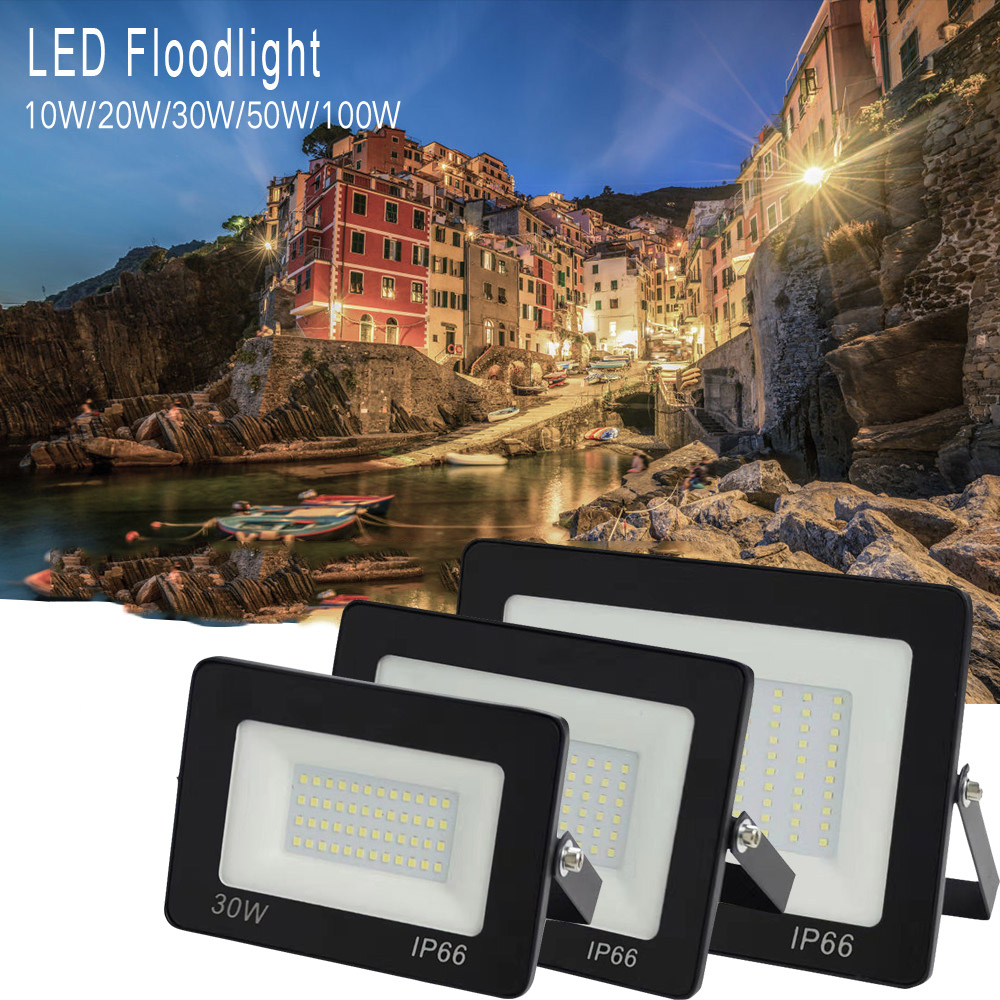 LED Floodlight 150 วัตต์ 100W 50W 30W 20W Ultra Thin LED น้ำท่วม Spotlight กลางแจ้ง AC220V IP 65 โคมไฟติดผนังกลางแจ้ง LED Flood LIGHT
