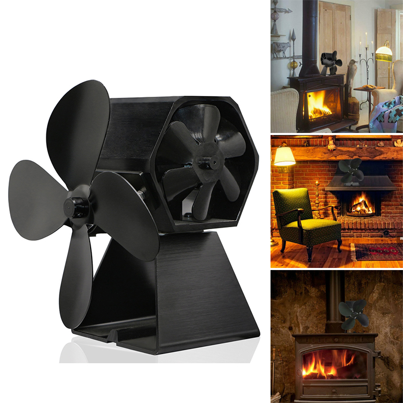 2-In-1 Fireplace 4 Blade Heat Powered Stove Fan Side Fan Eco Fan For Wood Log Burner Fireplace Home Efficient Heat Distribution