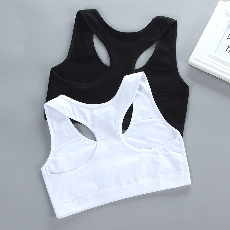 Kids Girl Cotton Sport Training Bra Letter Print Solid Colort Teenage  Underwear Wireless Cotton Bralette Crop Top Small Vest 2