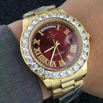 LGXIGE Men's Big Diamond Luxury Roman Numbers Stainless Steel Calendar Date Display Waterproof Watches 1