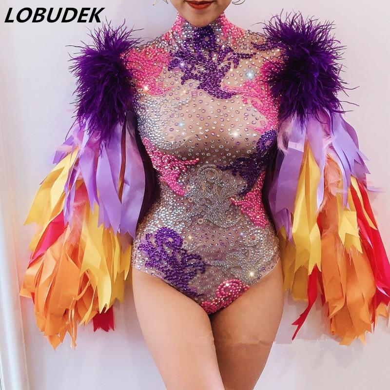 Sparkly Rhinestones Colored Ribbon Sleeve Bodysuit Elastic Crystals Bodysuits Bar Nightclub DJ Singer Dancer Costume Stage Wear