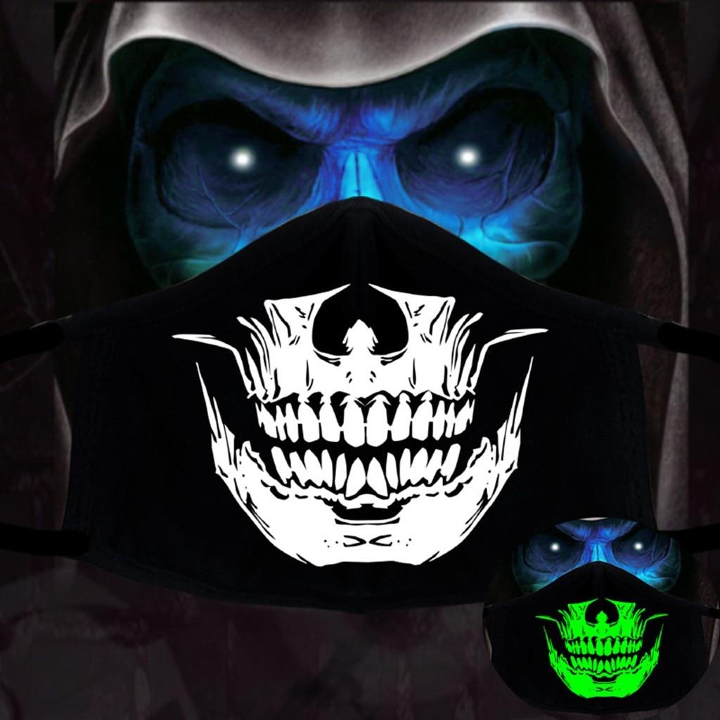 40 # Мужская и женская Персонализированная модная светящаяся маска с принтом черепа для Хэллоуина маски для лица Многоразовые моющиеся хлоп...