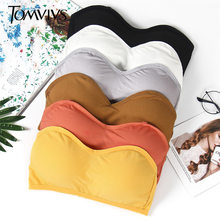 TOMVIVS seksi temel tarzı tüp üst iç çamaşırı omuz kapalı taban gömlek askıları olmadan sutyen kadın sarılmış göğüs backless B0141