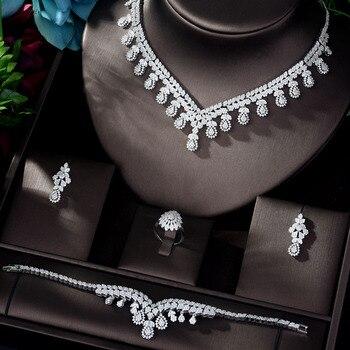 HIBRIDE New AAA Cubic Zircon Jewelry Sets for Women Wedding Necklace Earring Ring Bracelet Jewelry Accessories Bijoux N-1165