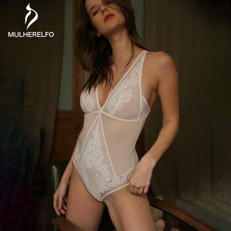 White Lace See Through Sexy Women Open Pajama Deep V Open Back Sashes Ladies Sleepwear Black Sexy Nightwear Women Seksi Gecelik