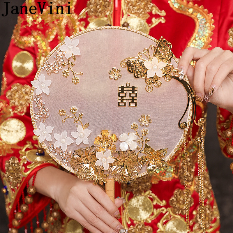 JaneVini Ancient Bridal Hand Fan Gold Butterfly Handmade Bride Flowers Fan Type Wedding Bouquets China Classic Bouquet Mariage