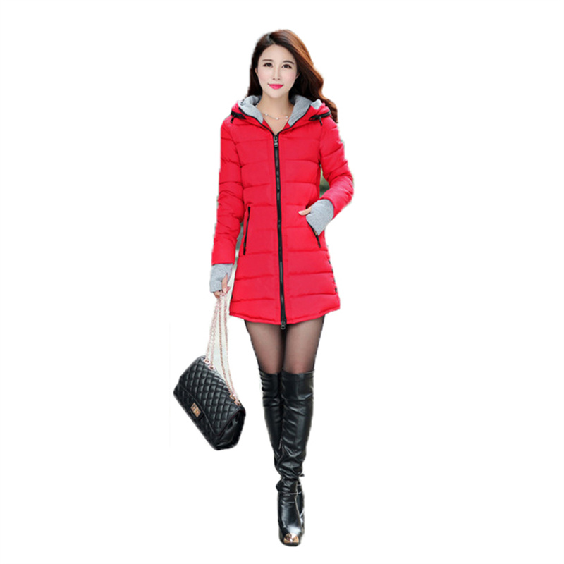 Autumn and Winter New Women's Plus Size Down Padded Jacket 2021 Temperament Slim Warm Hooded Gloves Pink Blue Cotton Coat GH399