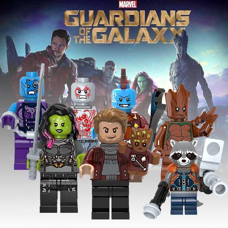 Guardians Galaxy figürleri yıldız-rab Gamora bulutsusu Yondu roket rakun demir adam örümcek adam Marvel yapı taşları çocuklar oyuncaklar