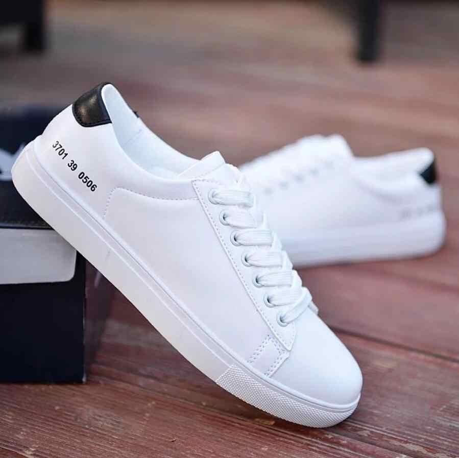 2019 frühling Schuhe Weiß Männer Turnschuhe Lässig Weichem Leder Männer Schuhe Marke Mode Männlichen designer Trainer Schuhe zapatillas hombres