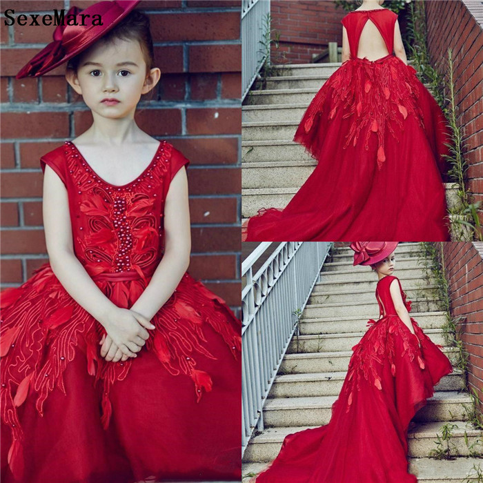 Red Infant Baby Girls Clothes Lace Applique Pearls Fur For Girls 1st Year Birthday Party Little Kids Pageant Prom Gown