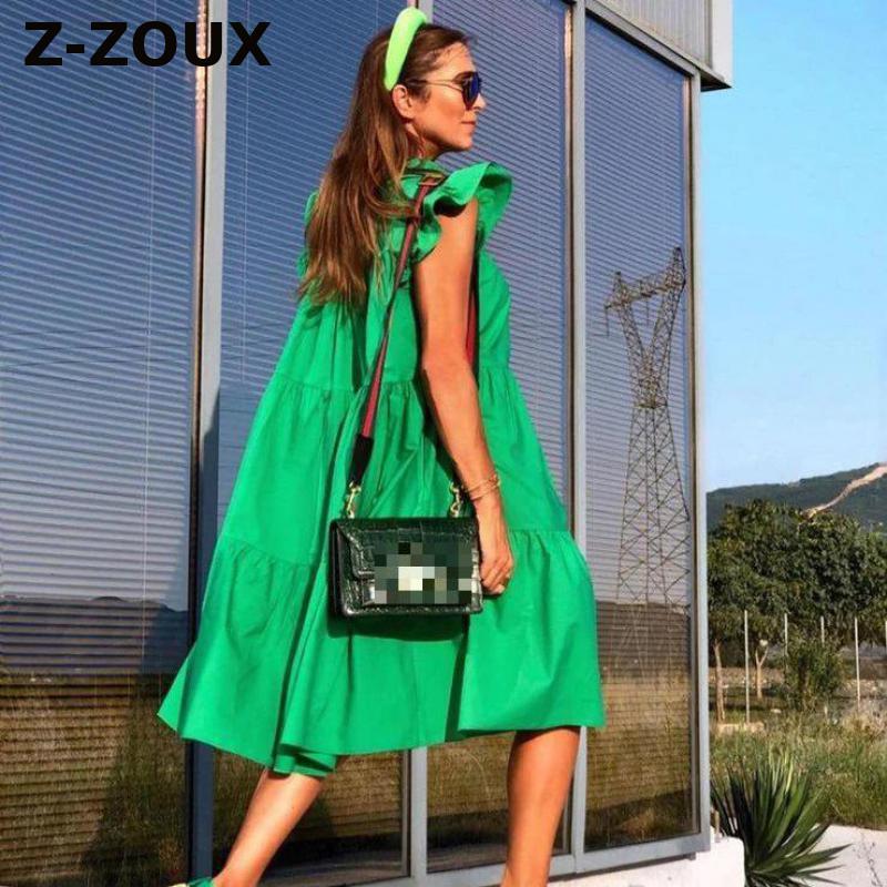 Z-ZOUX Women Dress Short Sleeve Pleated Long Dresses Fashion Bohemian Dress Solid Loose Summer Dresses Plus Size White Black New(China)