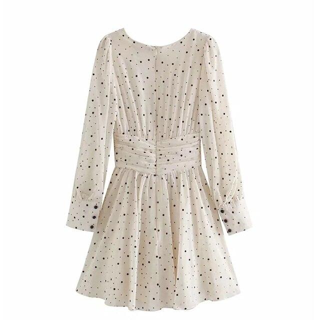 Za Dress Woman 2020 Polka Dot Mini Dress Long sleeve V-neckline Zip fastening White Women's Dresses for Summer 2