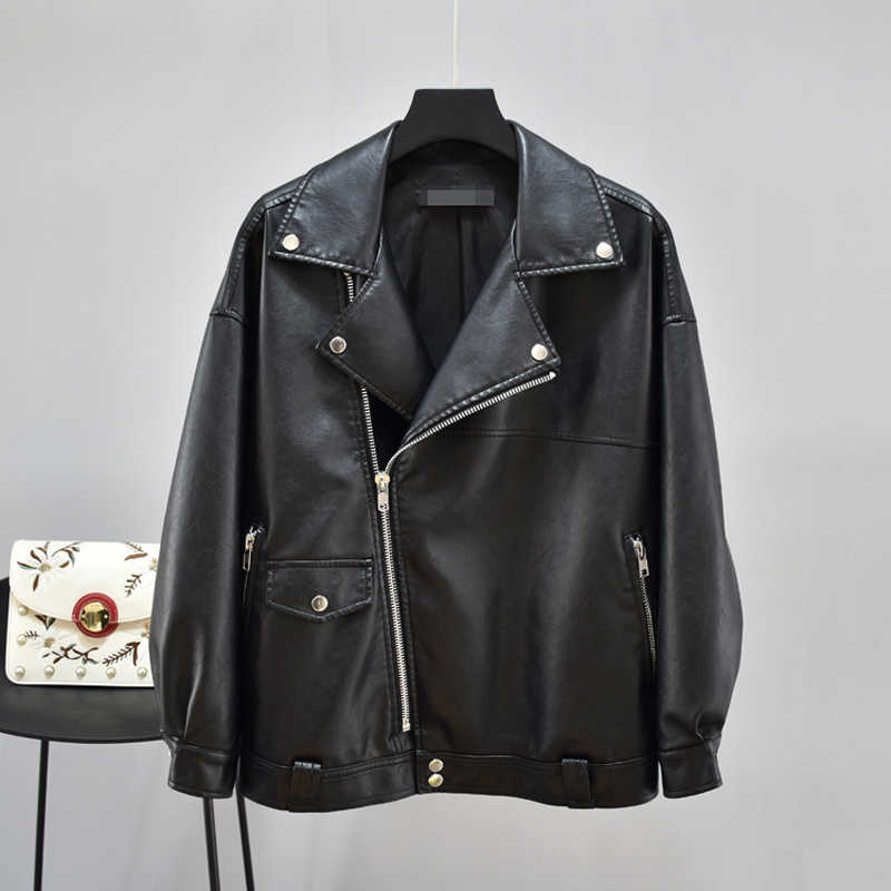 Leder Jacke Weiblichen Mantel Plus größe Moto Mantel Frauen PU Faux Lose Grundlegende Biker Dame Oversize Oberbekleidung XXL Winter Herbst frühling