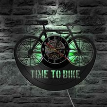 Mountain Bike Wall Clock Time To Bike Bikers Inspiration Quote Home Decor Old Time Bicycle Cyclist Retro Vinyl Record Wall Clock