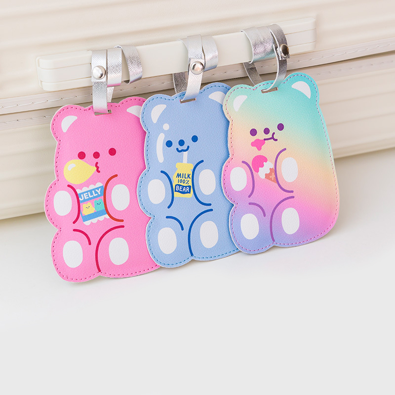 Cartoon Leather Luggage Tags Color Bear Suitcase Tag Student Bus Holder Cute Travel Bag Decoration Accessories Small Label Bag
