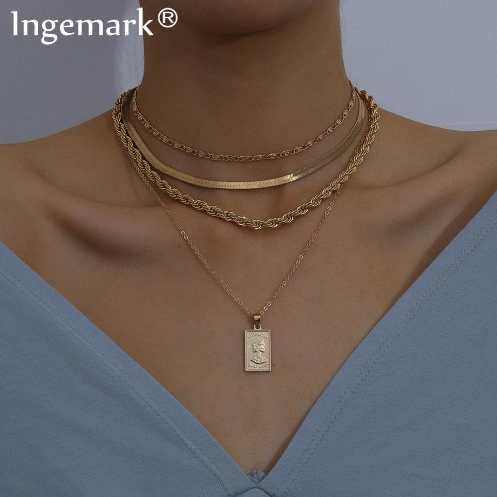 Gothic Multi Layered Iron Snake Chain Choker Necklace for Women Men Punk Carved Portraits Pendant Long Chain Necklace Jewelry