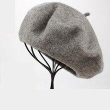 Женские весенне-Зимние береты, шляпа художника, стильная шляпа, женские шерстяные винтажные береты, одноцветная шапка, женская шапка, теплый берет для прогулок