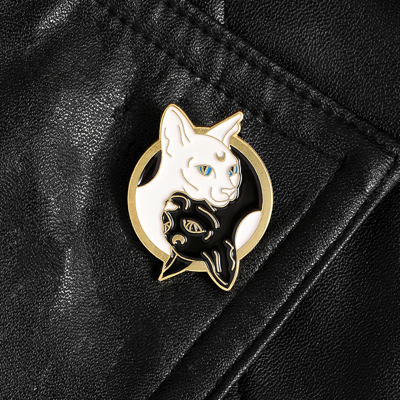 Mystical Witch Cat Enamel Pin Moon and Stars Cat Badge Brooch Lapel Pins Denim Jeans Shirt Bag Punk Jewelry Gift for friends 6