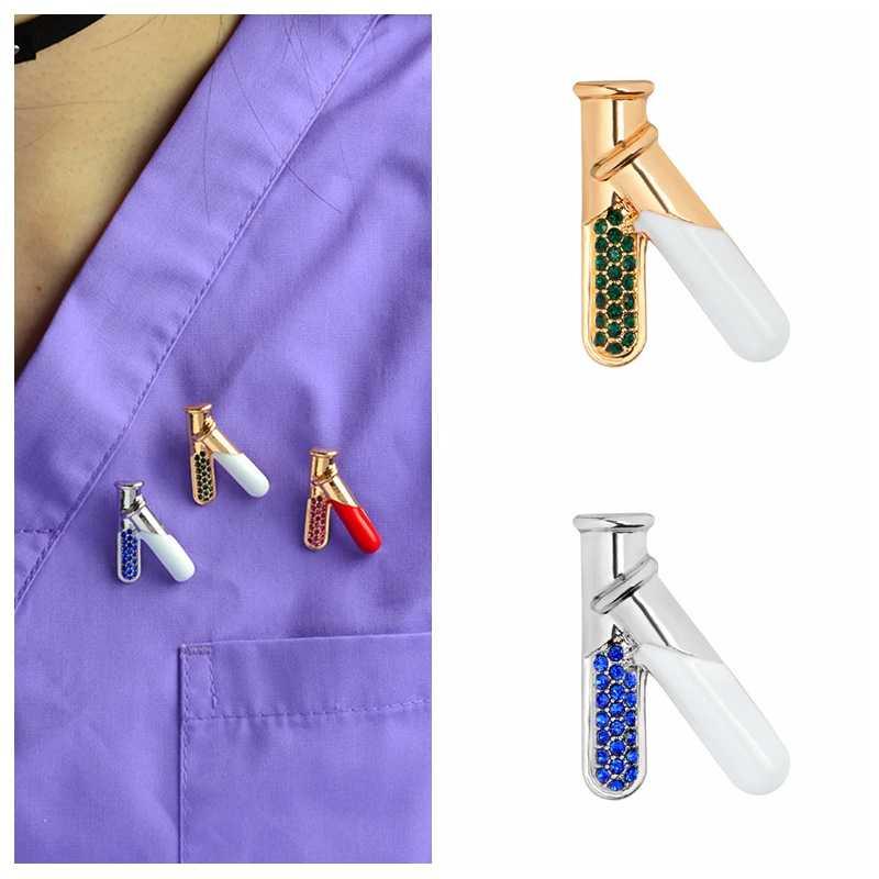 3 màu Hóa Học Thuốc Thử Ống Xòe Khoa Học Hóa Học Phòng Thí Nghiệm Men Lưng chân Denim áo sơ mi Jeans Túi Hoạt Hình Món Quà Trang Sức