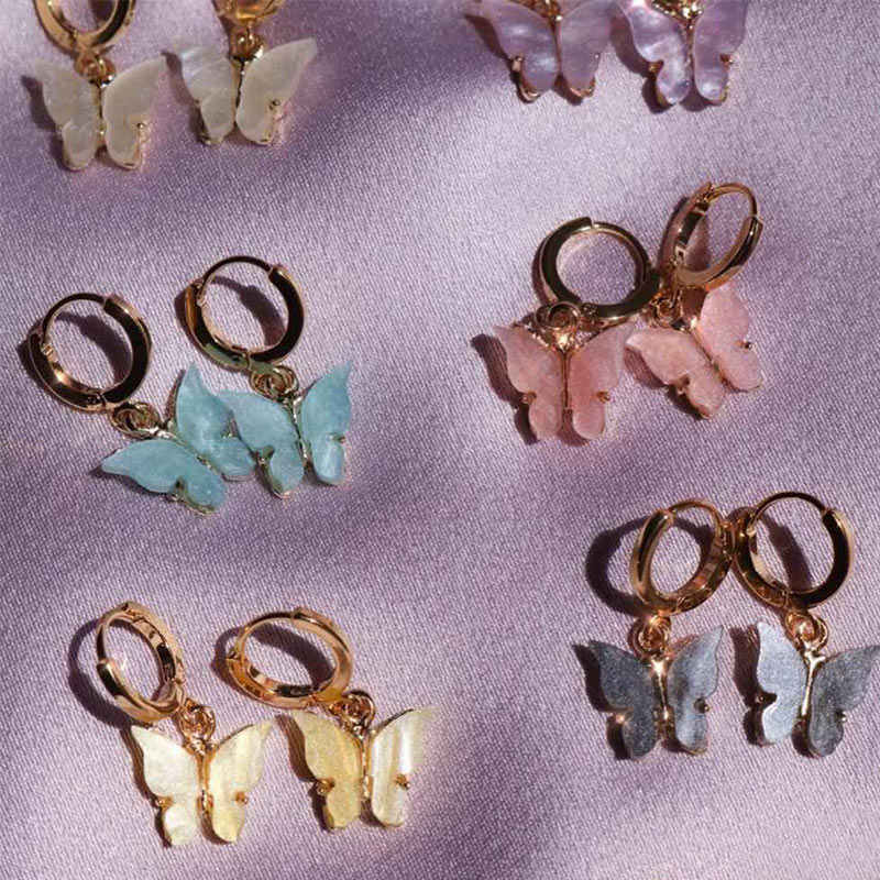 Jjfoucs Fashion Butterfly Drop Anting-Anting Wanita Anting-Akrilik Kupu-kupu Anting-Anting 2019 Hewan Sederhana Anting-Anting Wanita Perhiasan Aksesoris