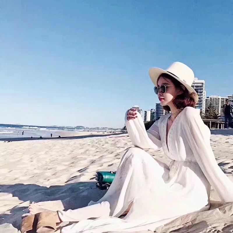 Europe And America Bubble Chiffon White Sha Tan Yi Coat Bikini Cover-up Sun-resistant Long Skirts Dress Women's Overclothes