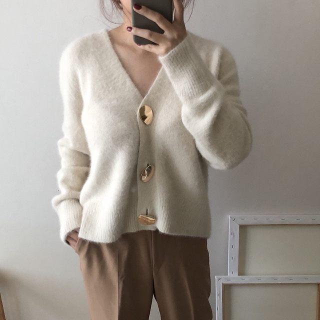 Mooirue Autumn Women Soft White Knitted Cashmere Sweater Double Button Women Warm Jumper V-Neck Winter Sweater 18