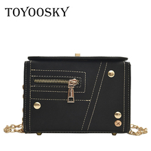 TOYOOSKY Fashion Women Shouler Bags Female Scrub Leather Messenger Bag High Quality Women's Flap Bag Lady Box Square Handbag brown bag high quality leather messenger bags brand fashion design cross body flap box handbag black green white color
