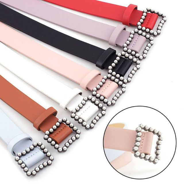 Women's Fashionable Belt With Square Buckle Inlaid With Artificial Pearls