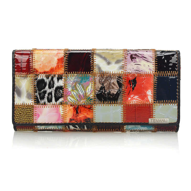 Fashion Autumn Shining Genuine Leather Wallets for Women Long Bracelet Clutch Purse Patchwork Design Female Card Holder Coin Bag