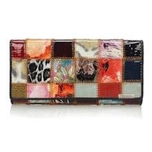 Купить с кэшбэком Fashion Autumn Shining Genuine Leather Wallets for Women Long Bracelet Clutch Purse Patchwork Design Female Card Holder Coin Bag