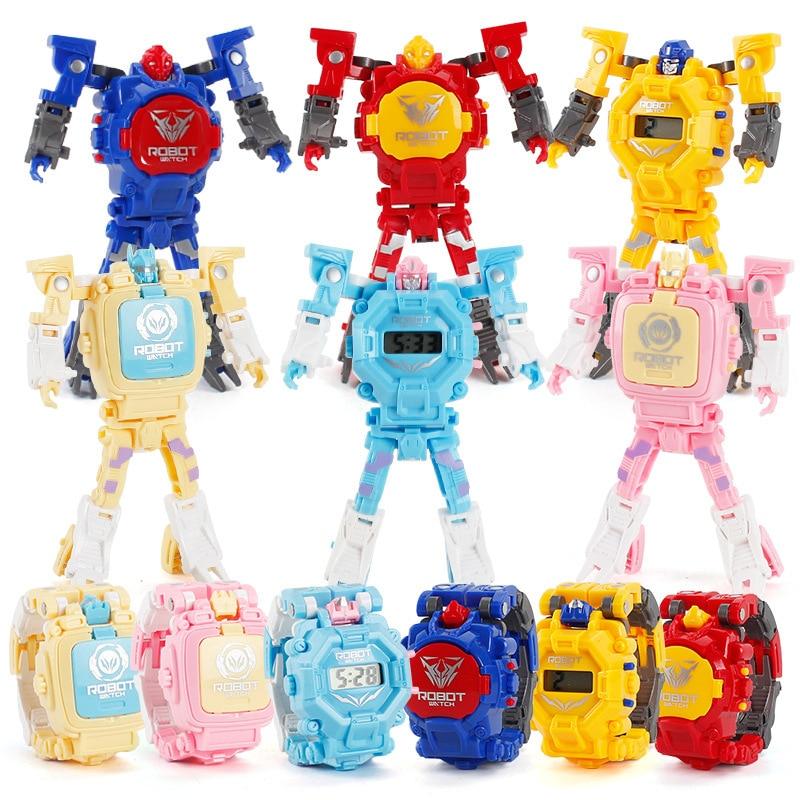 Cartoon Transformation Wristwatch Toy Boy KID Creative Electronic Robot Watch Deform Robot Watch Birthday Toy Gift