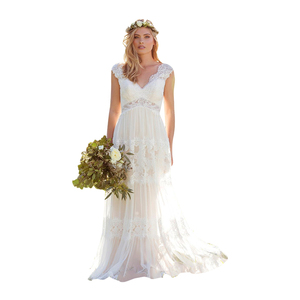 Image 5 - Vestido Novia Lace Bohemian Wedding Dresses 2020 V Neck Backless Illusion Country Mariage Gowns Sweep Train Simple Bride Dresses