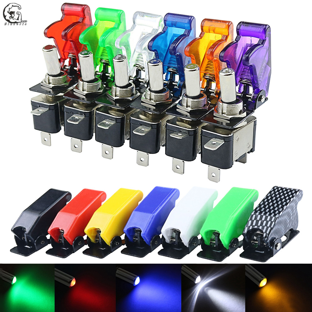 12V 20A LED Illuminated Toggle Rocker Switches With Cover For Car Boat Truck New