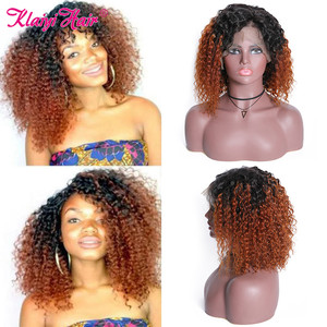 Image 3 - Klaiyi Hair Curly Bob Human Hair T1B99J/T1B30/Natural Wigs 8 14 inch Pre Plucked Remy Hair 13*4 Lace Front Wig 130% 180% Density