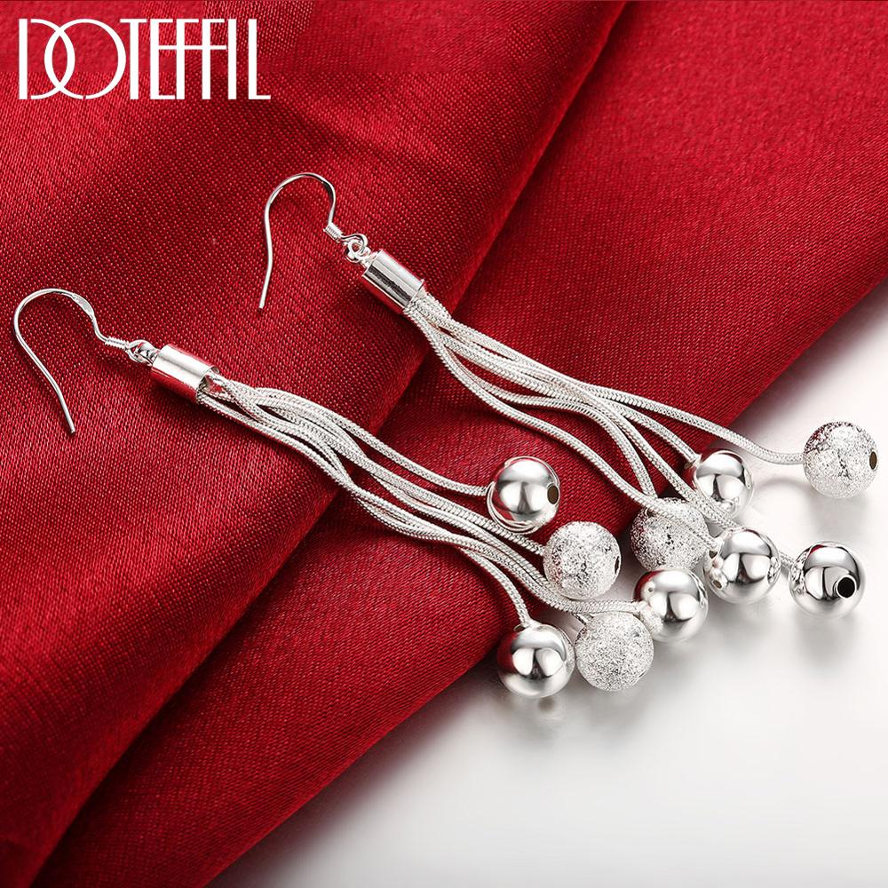 DOTEFFIL 925 Sterling Silver Five Line Snake Chain Beads Drop Earrings For Women Engagement Fashion Wedding Jewelry