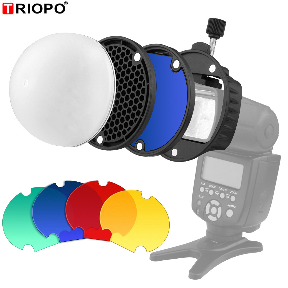 TRIOPO MagDome Color Filter Reflector Honeycomb Diffuser Ball Photo Accessories Kits For GODOX YONGNUO Flash Replace VS AK-R1