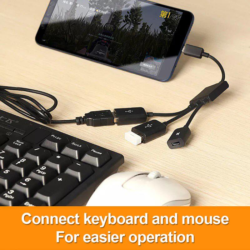 SEC 3 In1 Multi-function Dual Micro USB Host OTG Hub Adapter Cable Male To Female Dual Micro USB 2.0 Host OTG Hub Adapter Cable
