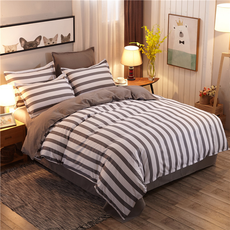 Classic grey stripe bed linens set blue flower bedding set Student duvet cover set bed sheet High Quality Home Textiles 4pcs